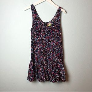 Free People floral tank ruffle trim mini dress